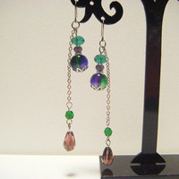 Green and violet titanium earrings, beaded dangle titanium earrings, gift under 10, ooak jewelry, handmade jewelry, fashion earrings.
