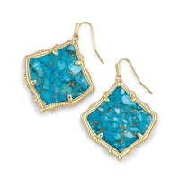 Kirsten Drop Earrings In Bronze Veined Turquoise
