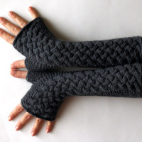 Charcoal Gray Fingerless Gloves Wool Fingerless Mittens Women's Arm Warmers Winter Knit Cable Hand Warmers - KG0037 - Aimarro