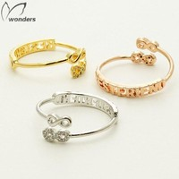 BFF Rings Jewelry Rose Gold Dainty CZ Crystal Letter Best Friend Double Infinity Ring
