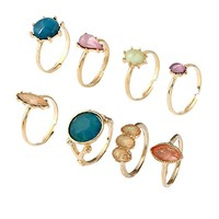 Gold Crystal Bohemian Vintage Hand Harness Stack Finger Nail Ring Bracelet Jewelry for Women