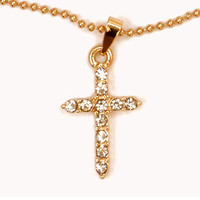FOREVER 21 Rhinestoned Cross Charm Necklace Gold/Clear One