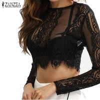 ZANZEA Women Tops 2017 Summer Lace Crochet Crop Tops Long Sleeve Blouse Shirts Sexy Zipper Blusas Pullover Plus Size S-5XL