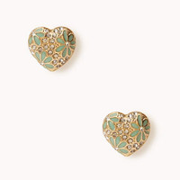 Flowered Heart Studs