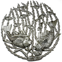 24 inch Metal Art Fish in Seaweed - Croix des Bouquets