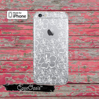 Hibiscus Flower Line Art White Pattern Cute Clear Case For iPhone 6, iPhone 6 Plus +, iPhone 6s, iPhone 6s Plus +, iPhone 5/5s, iPhone 5c