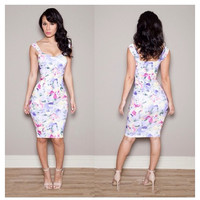Summer Spring Vintage Floral Print Women Bodycon Bandage Dress Sexy Ladies Casual Pencil Dress