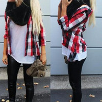 Mystery Flannel Outfit 2 Piece Fall Edition- Ripped Jeans, Tights, Leggings,Flannel,Plaid, Grunge