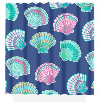 Seashell SHOWER CURTAIN, Lilly Flower, Turquoise Pink, Custom MONOGRAM Personalized, Girl Sister Bathroom Decor, Bath Towel, Plush Bath Mat