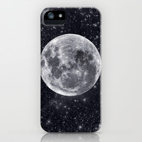 Hello Mr Moon. Luna and galaxy art. iPhone & iPod Case by Prints Of Heart
