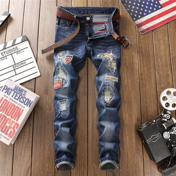 Stretch Men Ripped Holes Pants Vintage Embroidery Casual Jeans [1574710476893]
