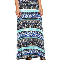 Living Doll Tribal-Print Maxi Skirt - Black/Blue