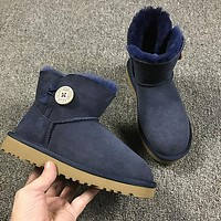 Ugg 3352 Navy Blue Classic Mini Bailey Button II Boot Snow Boots #10