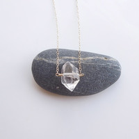 Solitaire Herkimer Diamond Necklace in Gold - OOAK Jewelry