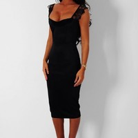 Charisma Black Lace Strap Bodycon Midi Dress | Pink Boutique