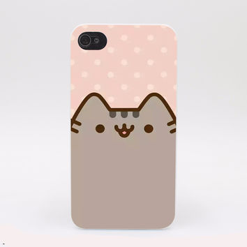 Pusheen Cat Cute Hard White Cover Case for iPhone