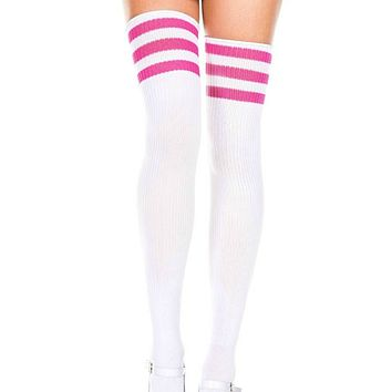 White and Hot Pink 3 Stripe Thigh High Socks