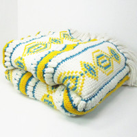 """Vintage yellow teal off-white crochet / knitted afghan throw blanket with geometric shapes 57"""" x 52"""""""