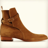 Handmade jodhpurs ankle boot, Men Tan ankle high suede leather boot, Mens boot