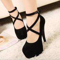 2016 New High-heeled Shoes Woman Pumps Wedding Shoes Platform Fashion Women Shoes Red High Heels 11cm Suede Free Shipping M130