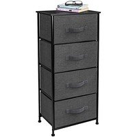 Sorbus Dresser with 4 Drawers - Tall Storage Tower Unit Organizer for Bedroom, Hallway, Closet, College Dorm - Chest Drawer for Clothes, Steel Frame, Wood Top, Easy Pull Fabric Bins (Black/Charcoal) Black/Charcoal