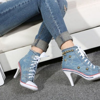 Womens Denim Canvas Rivet High Heel Stilettos Lace Up Sneakers Shoes US 6-8.5 = 1929761860