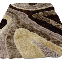 DaDa Bedding Three Dimensional 3D Curved Brown & White Chocolate Soft Plush Viscose Carpet Rug
