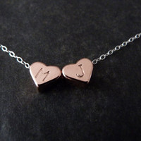 Personalized Couple Necklace, Pink Gold Heart Charm, STERLING SILVER chain, Anniversary Gift, Best Friends Necklace, Handstamped Necklace