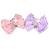 Dog Shiny Rhinstone Hair Clips Small Bowknot Pet Grooming Products Pet Lace Hair Bows Dog Accessories