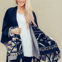 Colorful Reversible Poncho in Gray