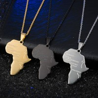 BOAKO Punk Africa Necklace Gift Black/Silver/Gold Color Pendant & Chain Hiphop African Map Men/Women Trendy Jewelry Z4