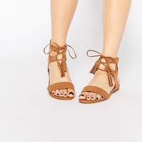 New Look Wide Lace Up Sandals at asos.com