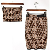 Fendi High Quality New Fashion Summer More Letter Strapless Top And Skirt Two Piece Suit