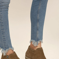 Steve Madden Tobii Cognac Suede Leather Ankle Booties