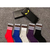 """FENDI"" Popular Women Men F Letter Stripe Comfortable Cotton Sport Socks - Boxed"