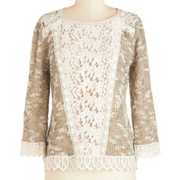 ModCloth Mid-length Long Sleeve Frilled at the Idea Sweater