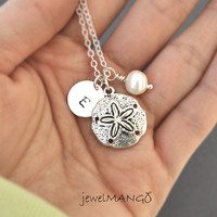 personalized Sand Dollar freshwater pearl initial necklace, Bridesmaid necklace, wedding bridal, monogram, ocean, sea, Sand Dollar, pearl