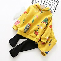 Baby Girls Sets Hooded Long Sleeve Tops+Pants Children Clothing Sets Girls Clothes Kids Sets