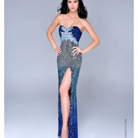 Nina Canacci 2014 Prom Dresses - Royal & Silver Sequin Ombre Prom Gown