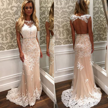 Sleeveless Lace Applique Long Prom Dresses