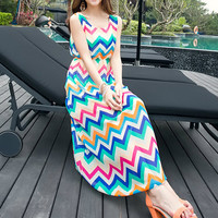 Bohemian Wave Pattern Print Sleeveless Chiffon A-Line Maxi Dress