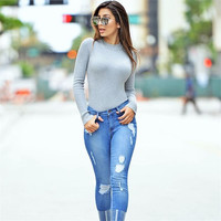 Round-neck Hollow Out Knit Tops Ladies Bottoming Shirt [9551821007]