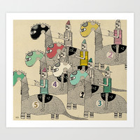dino racing Art Print by bri.buckley