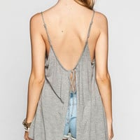 Light Gray Spaghetti Strap Backless Slit Tank Top
