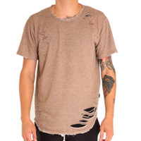 Thrasher Distressed Extended Tee in Mocha