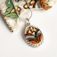 Deruta Pottery, Broken China Jewelry, Italian Pottery, Sterling Silver Pendant Necklace, OOAK, Christmas Gift for Her