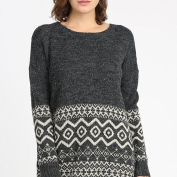 Geometric Pattern Tunic Sweater - Charcoal