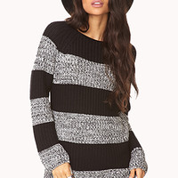 FOREVER 21 Marled Stripes Sweater Black/Cream