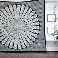 Black & White Mandala Tapestries Peacock Mandala Hippie Tapestry Indian Round Beach Throw College Dorm Decor Bohemian Wall Hanging Boho Queen Bedsheet
