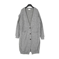 Buttoned Long Knit Cardigan